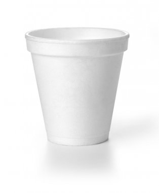 Polistren foam takeaway coffe cup with clipping path stock vector