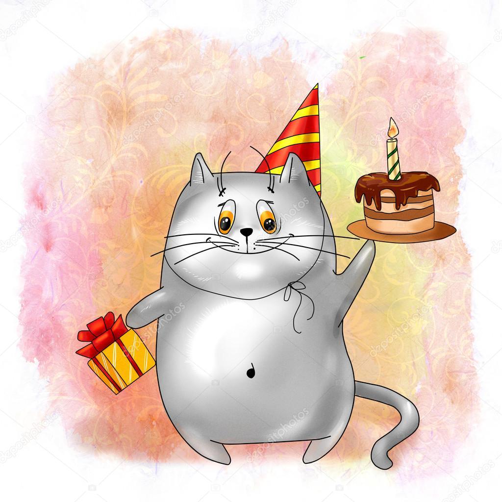 Uśmiechający Się Kot Z Prezentami I Tort Urodzinowy Zdjęcie