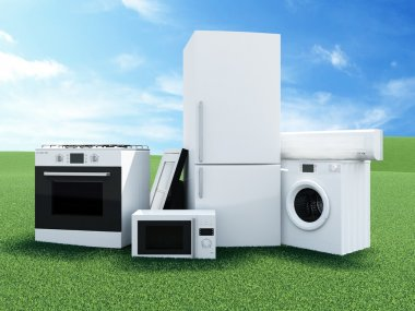 Group of home appliances on Beautiful Landscape with Clouds and Sun.
