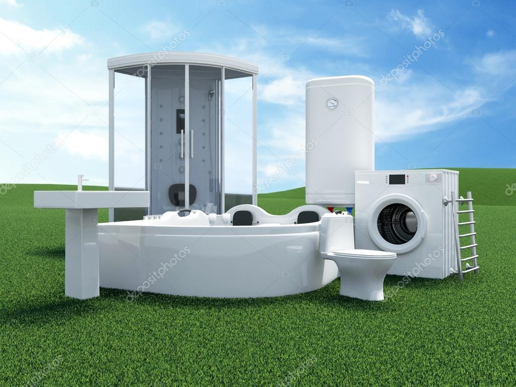Elektrische Handdoekdroger Badkamer : Groep van badkamer uitrusting u stockfoto ras slava