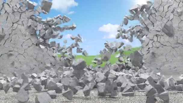 Animation of Broken Concrete Wall