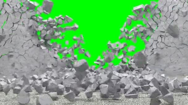 Animace rozbité betonové zdi