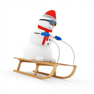 Snowman on Wooden Sled