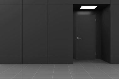 Empty Office Hall Interior with Closed Door