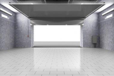 Garage Interior with Opened Roller Door.
