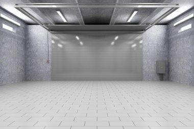 Garage Interior with Closed Roller Door