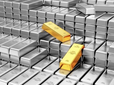 Silver and Golden Bars in Bank Vault