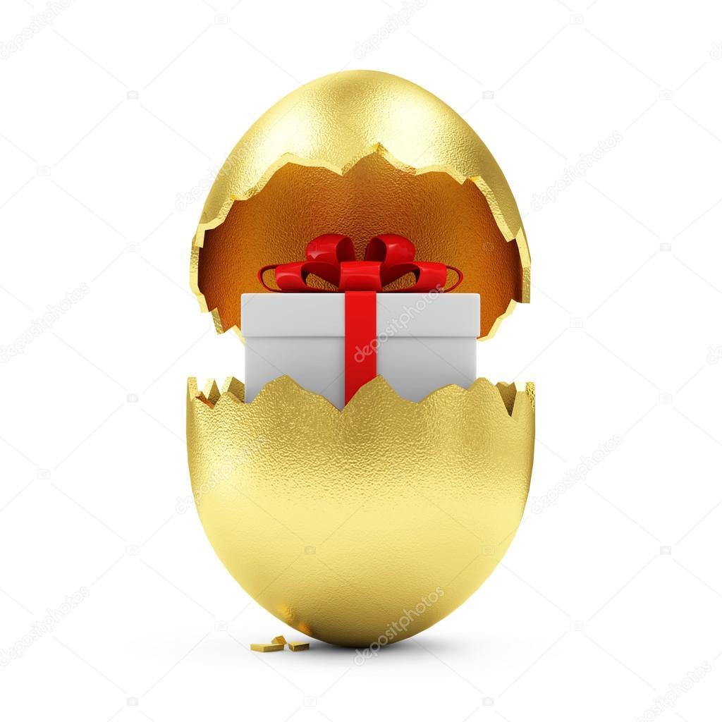 Golden egg with gift box inside stock photo ras slava 66715201 happy easter concept big broken golden egg with gift box inside isolated on white background photo by ras slava negle Image collections