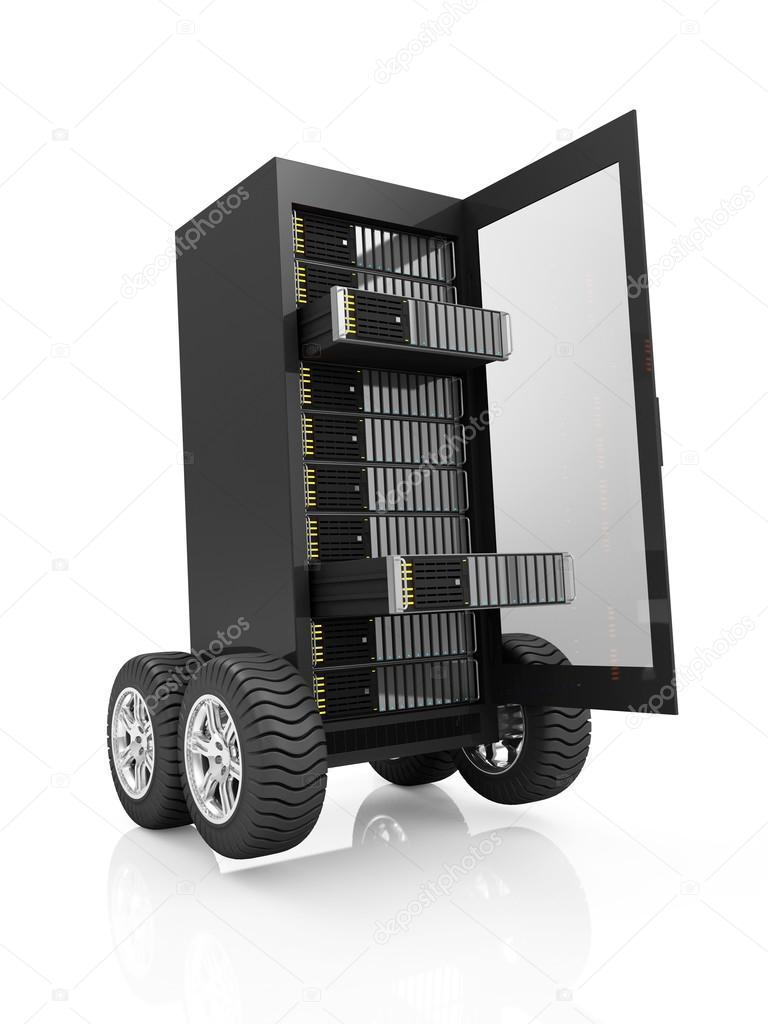Server Rack medöppen dörr på hjul u2014 Stockfotografi u00a9 ras slava #67796045