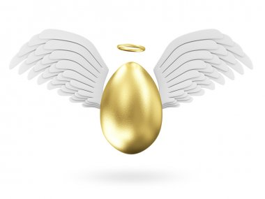 Golden Egg with Angel White Wings
