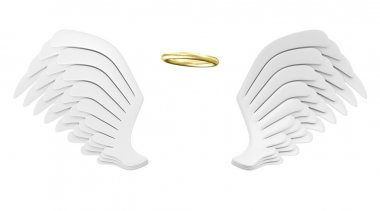 Angel White Wings with Golden Nimbus