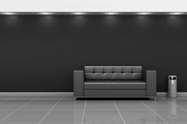 Modern Hall Interior with Leather Sofa