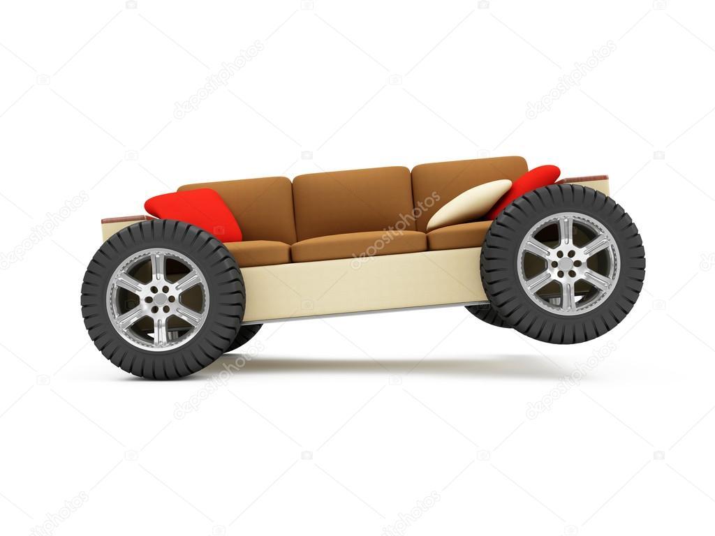 Modern Sofa On Wheels With Pillows U2014 Stock Photo