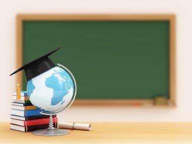 Desk Globe with Graduation Cap