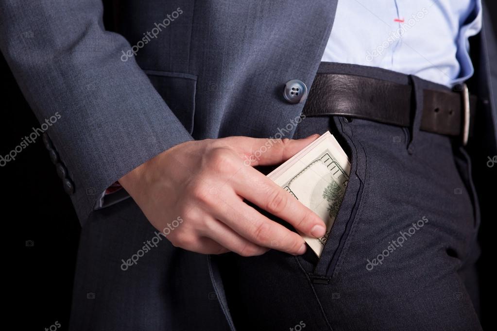 Money in your pocket. money in hands