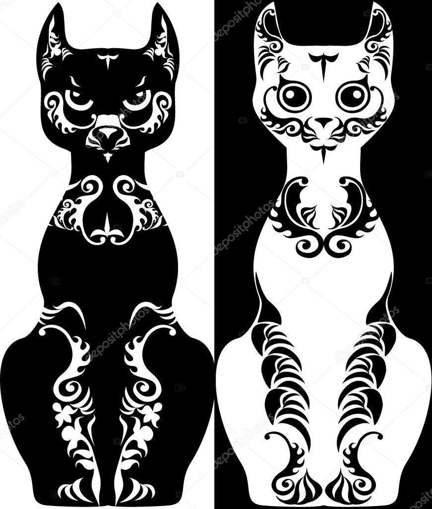 Dibujos Blanco Y Negro Gato De La Imagen Estilizada Con Dibujos