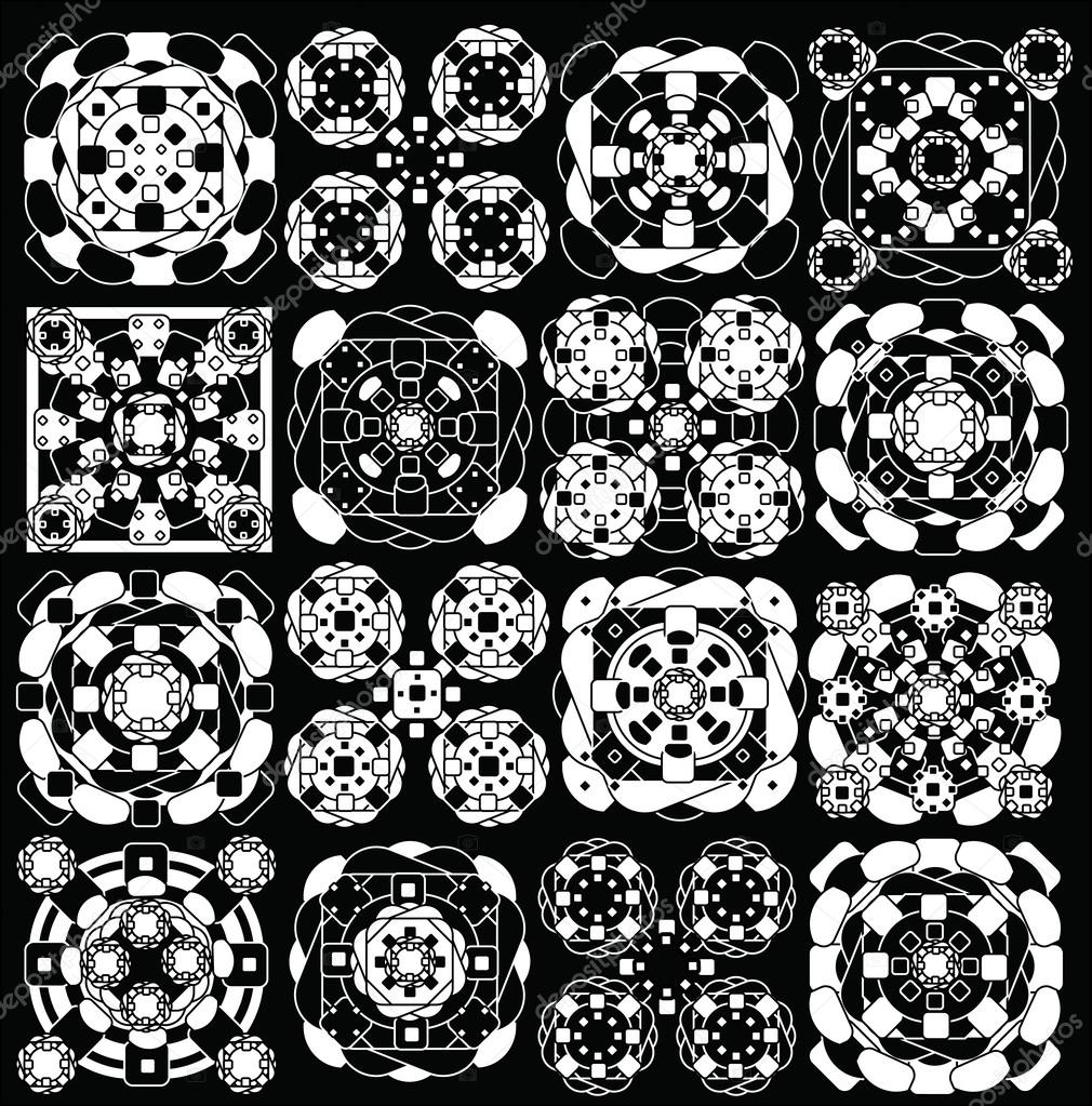geometric pattern black and white, ellipse and set squares — Stock ...