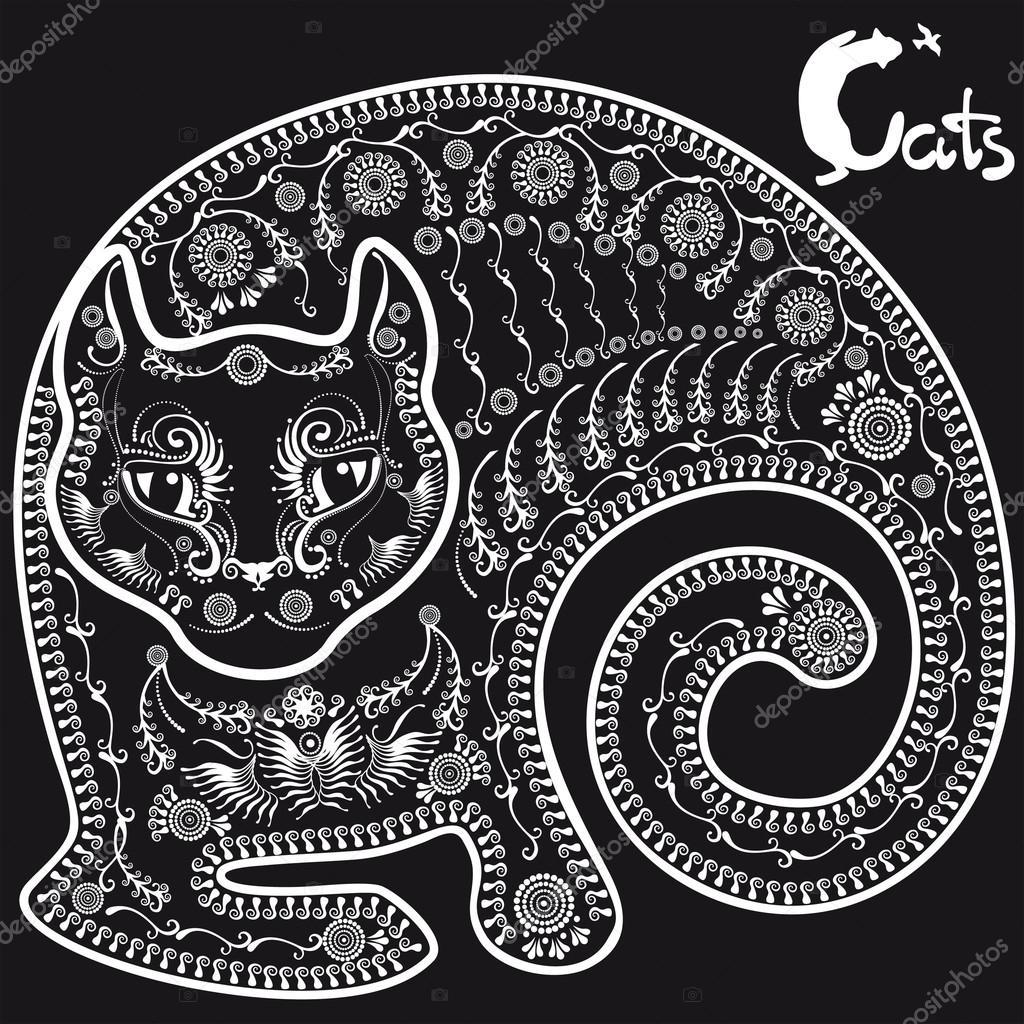 Кот стилизованный рисунок