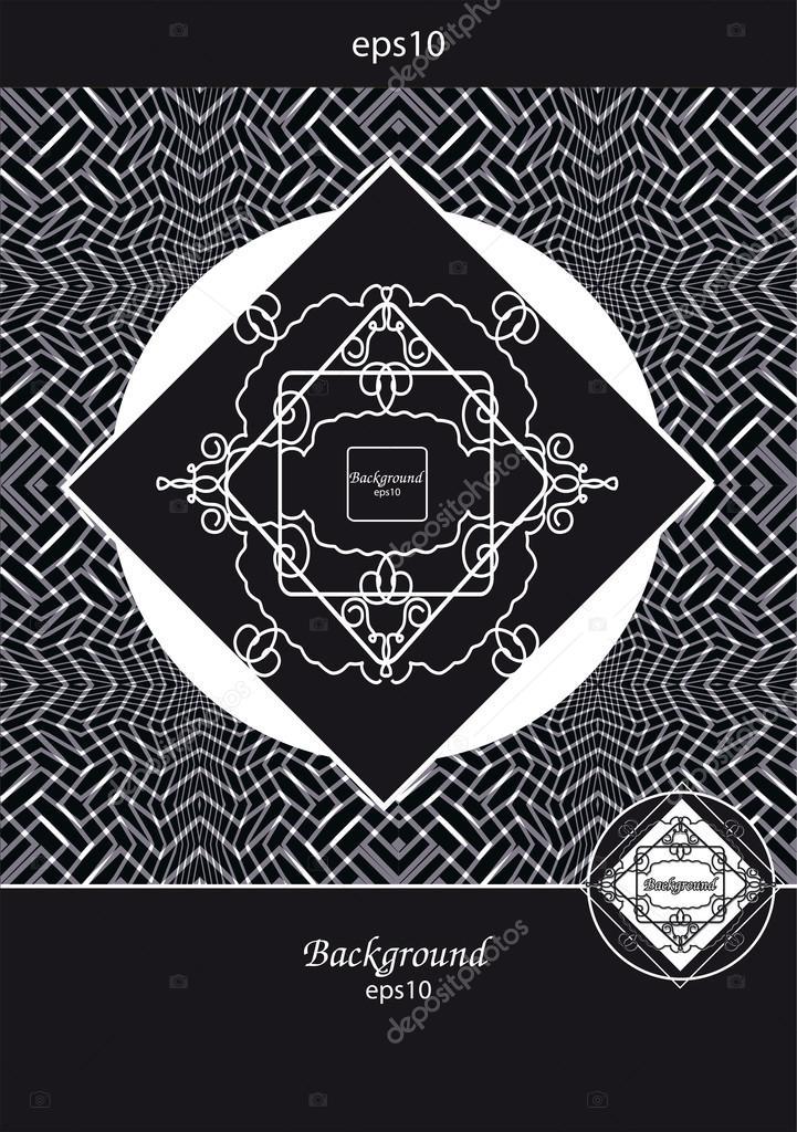 filigrane Rahmen auf schwarzen und weißen geometrischen Hintergrund ...
