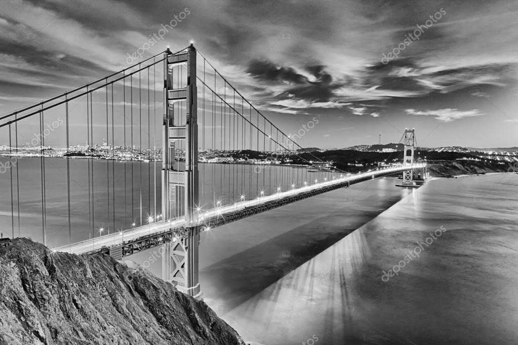 Golden Gate Bridge In San Fracisco City Black And White