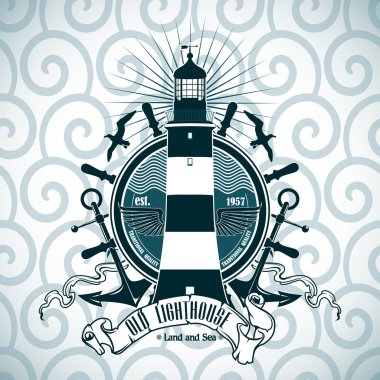 Label with a picture of the lighthouse, anchors and steering wheel. Nautical theme.