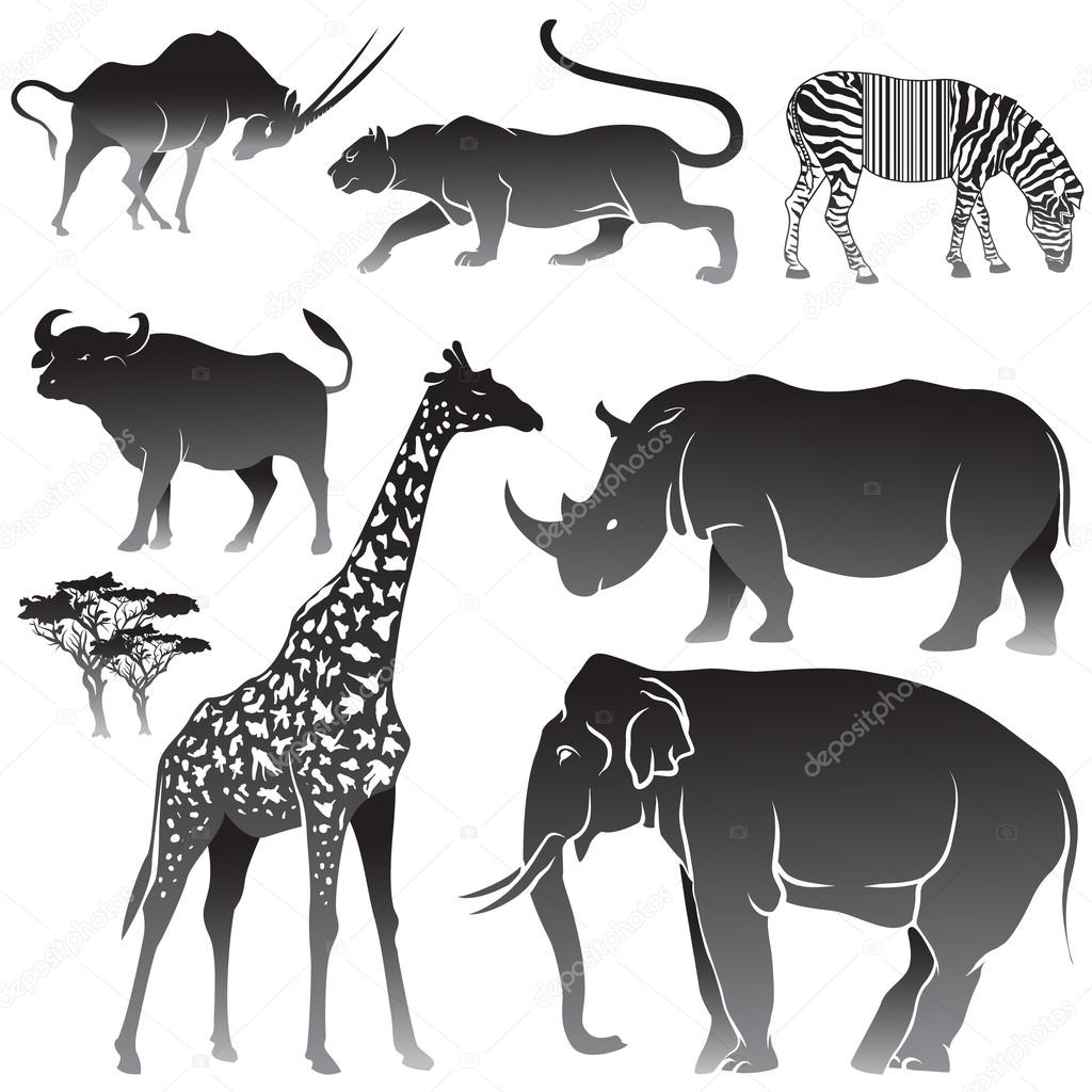 Vector Set of African animals.