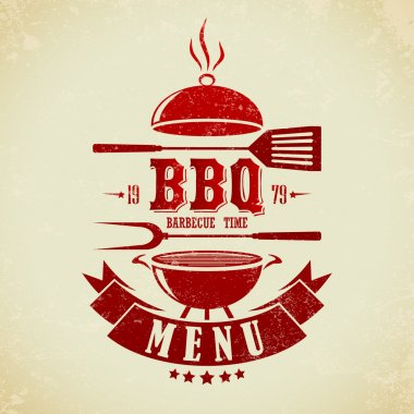 Vintage BBQ Grill Party stock vector