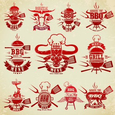 Big set of vintage labels barbecue party