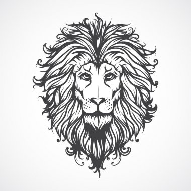 Lions Head. Vector illustration.