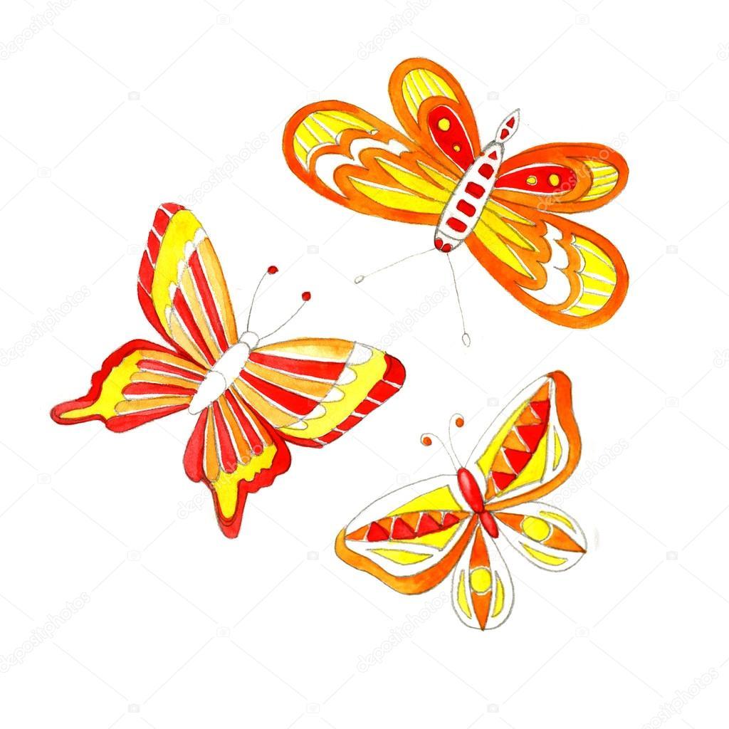 Akvarel Motyl Kresba Stock Fotografie C 7slonov 105450894