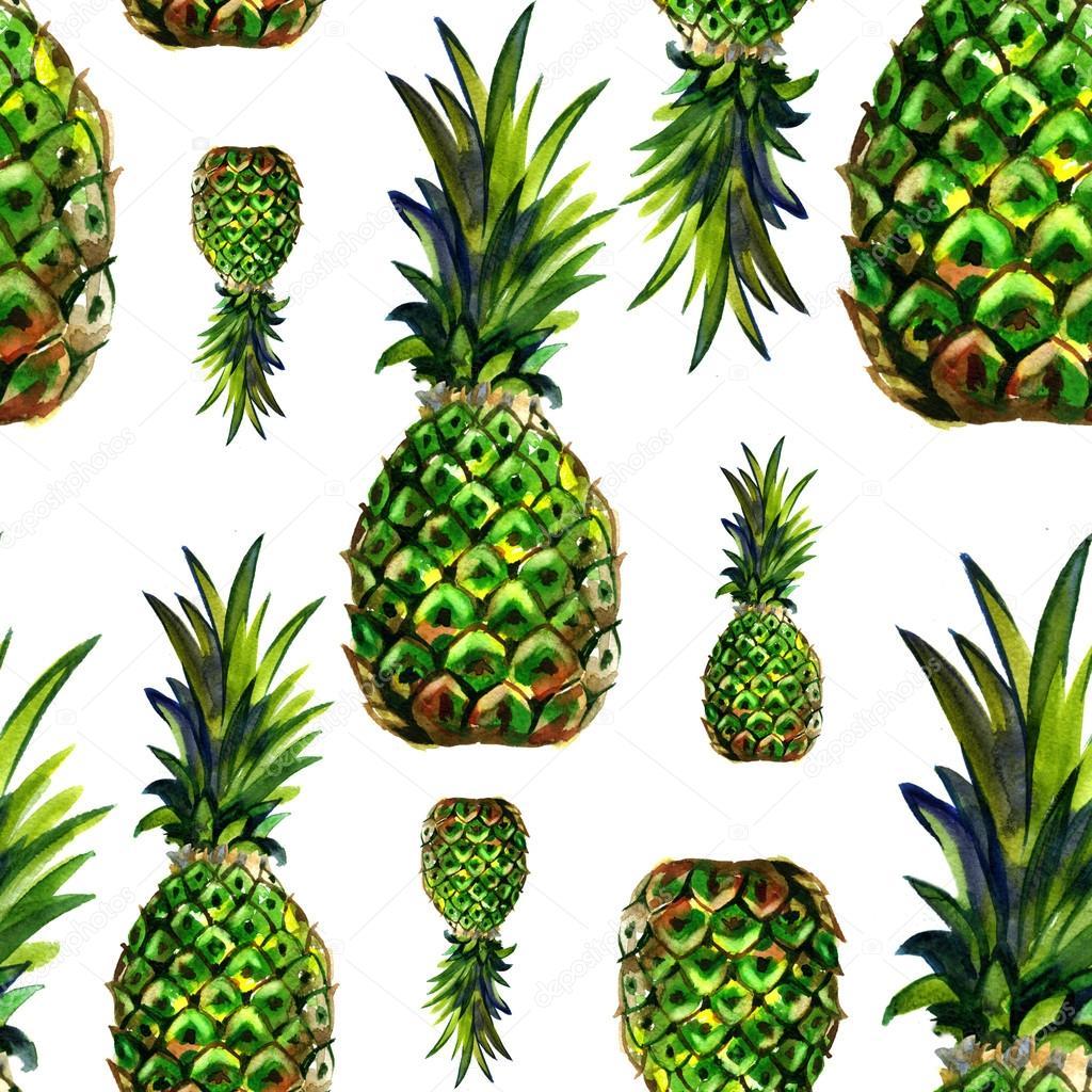Watercolor summer green pineapple pattern