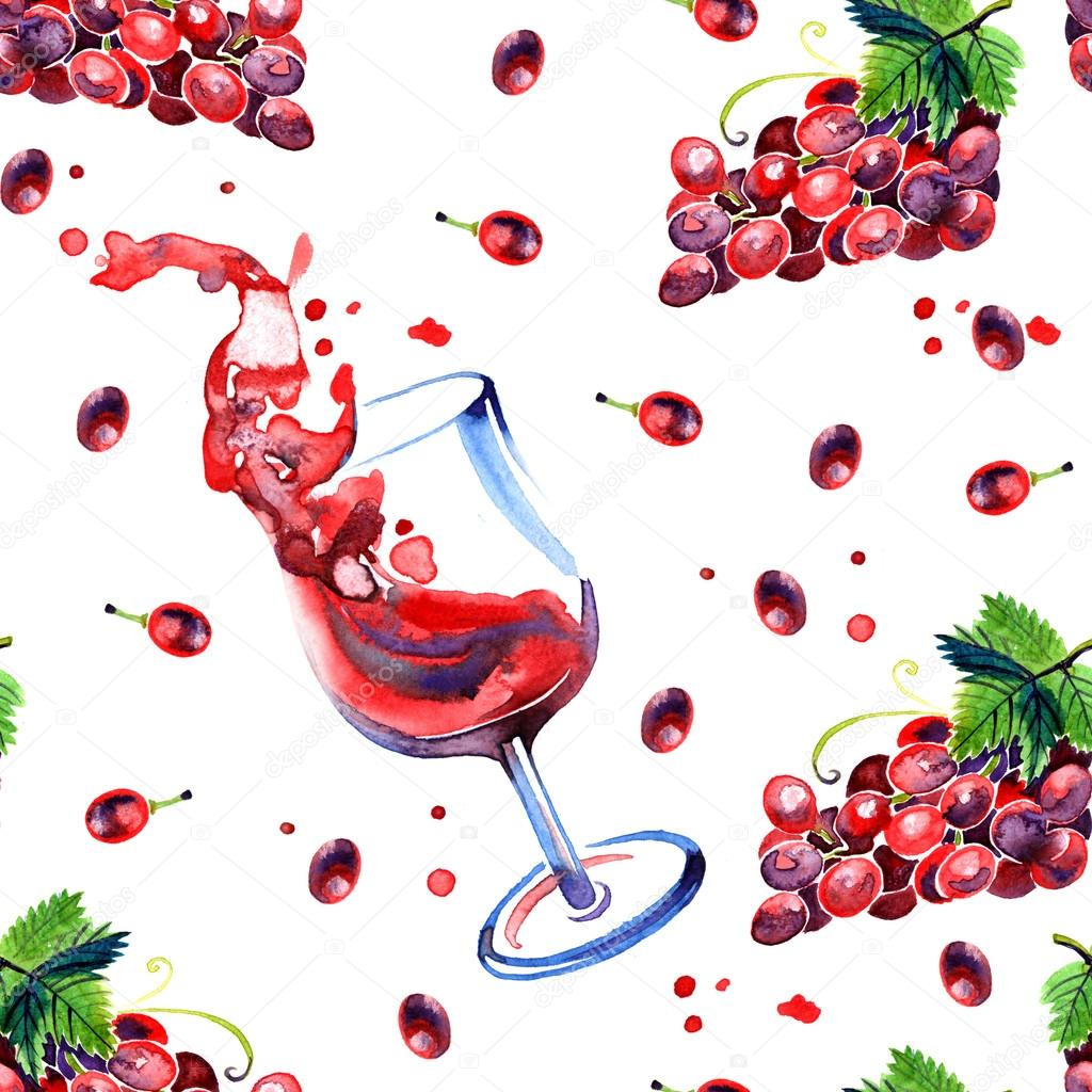 Watercolor summer grape and red wine pattern