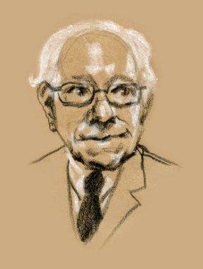 Graphic illustration portrait of Bernard Bernie Sanders
