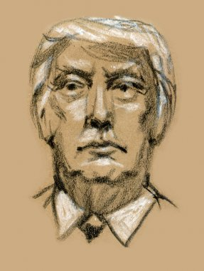 Donald Trump, republican presidential candidate. Sketch by hand.