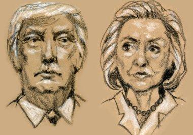 Presidential Candidates Donald Trump vs Hillary Clinton.