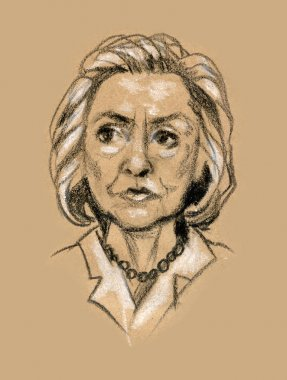 Character illustration of democratic presidential candidate Hillary Clinton