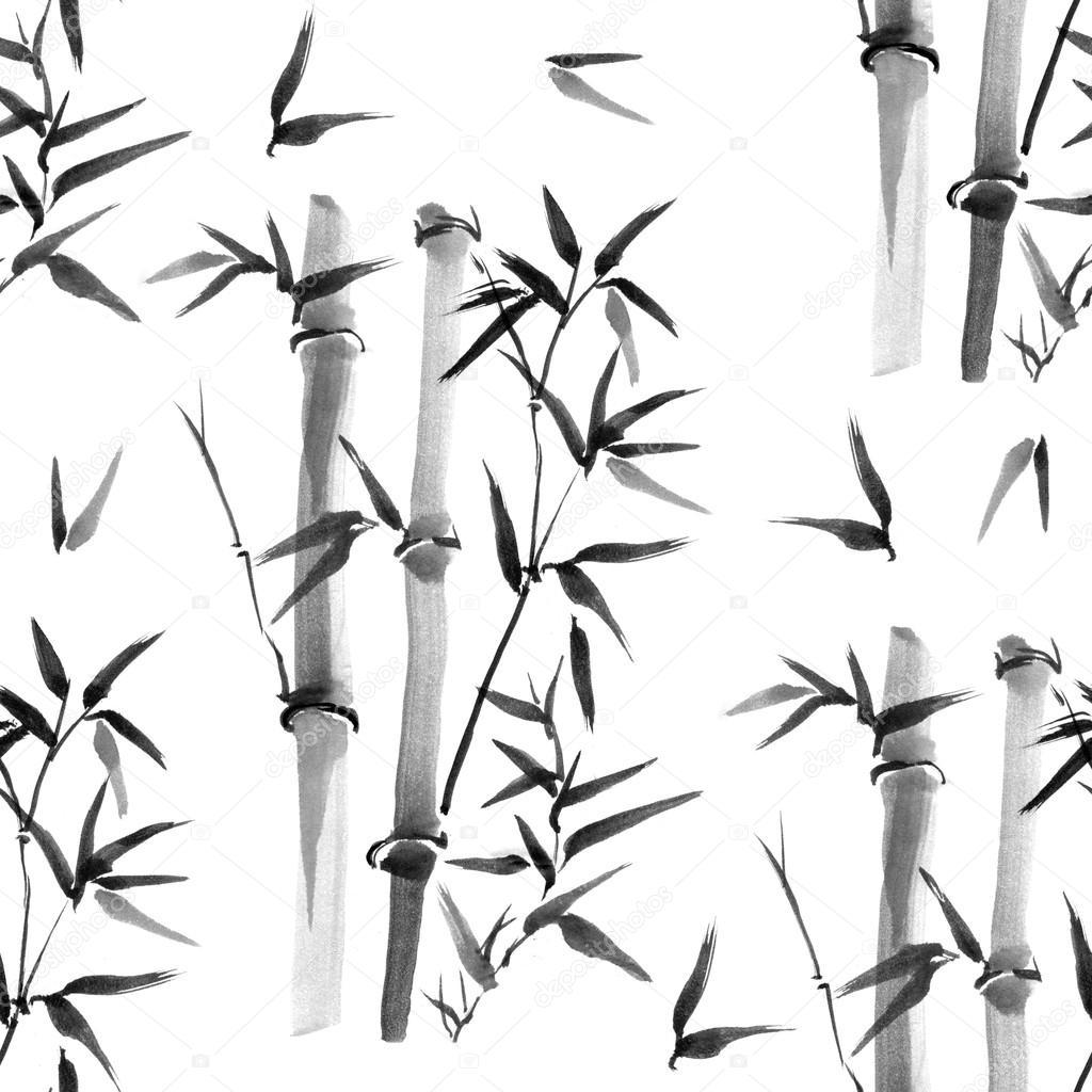 Nahtlose Muster. Bambus Blatt Hintergrund — Stockfoto © 7slonov ...