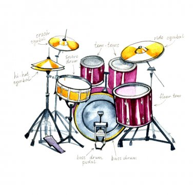 Drums. Watercolor musical instruments on white background