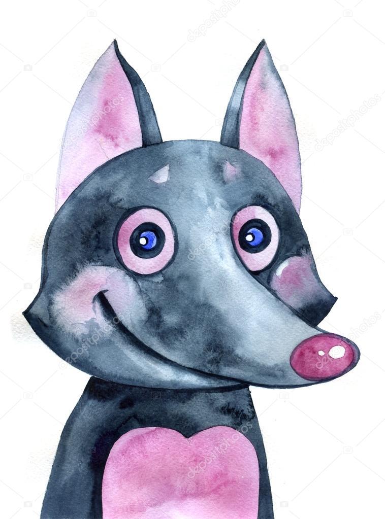 Simpatico cartone animato lupo acquerello illustrazione degli