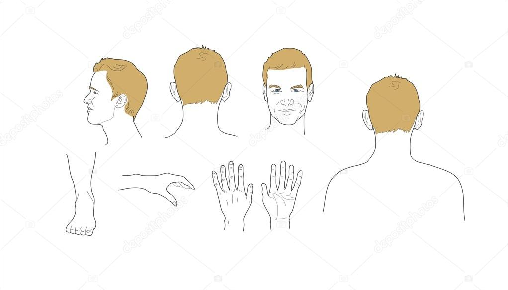 Male Body Parts Icons Set Arm And Foot Leg And Torso Elbow And