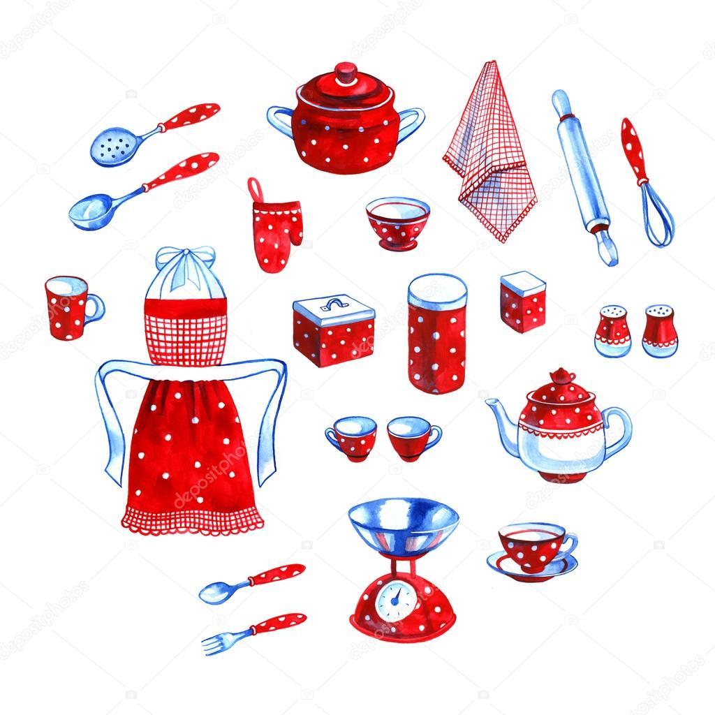 Disegnato a mano sveglio collezione di oggetti di cucina dell ...