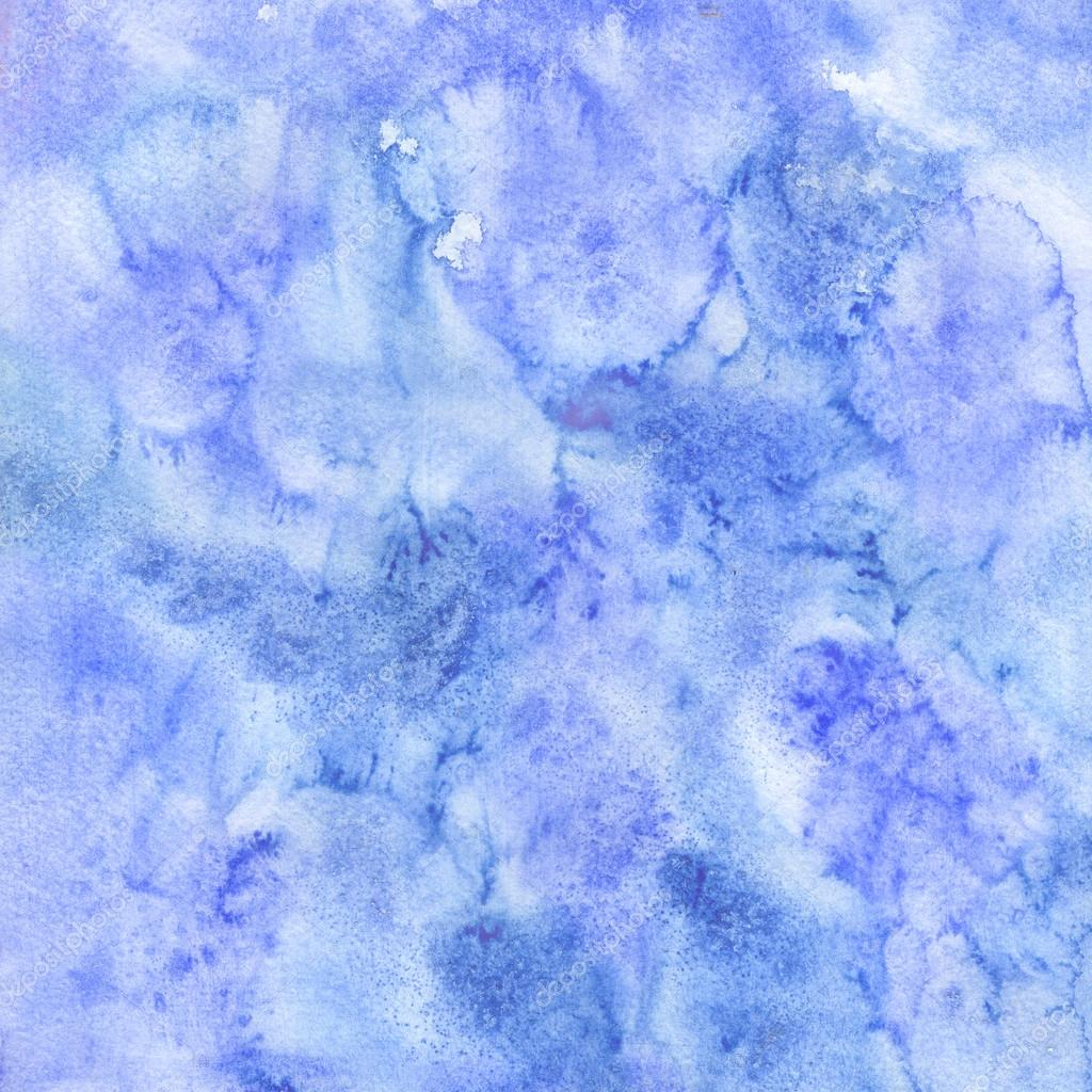 Blue winter watercolor texture. Hand painted decorative surface. Abstract background.