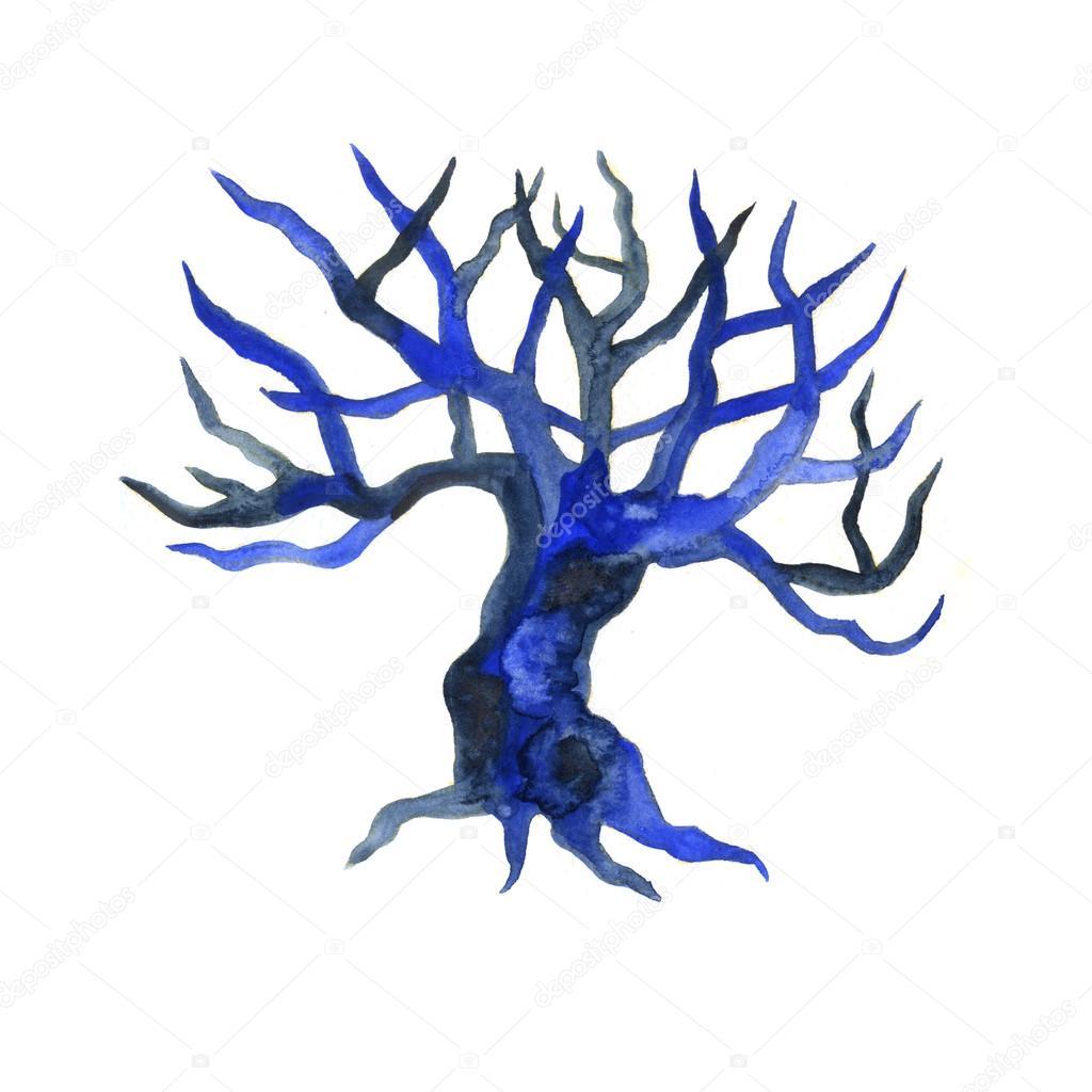 Sulu Boya Kuru çıplak Ağaç Dal Dal Hiçbir Yaprakları Closeup