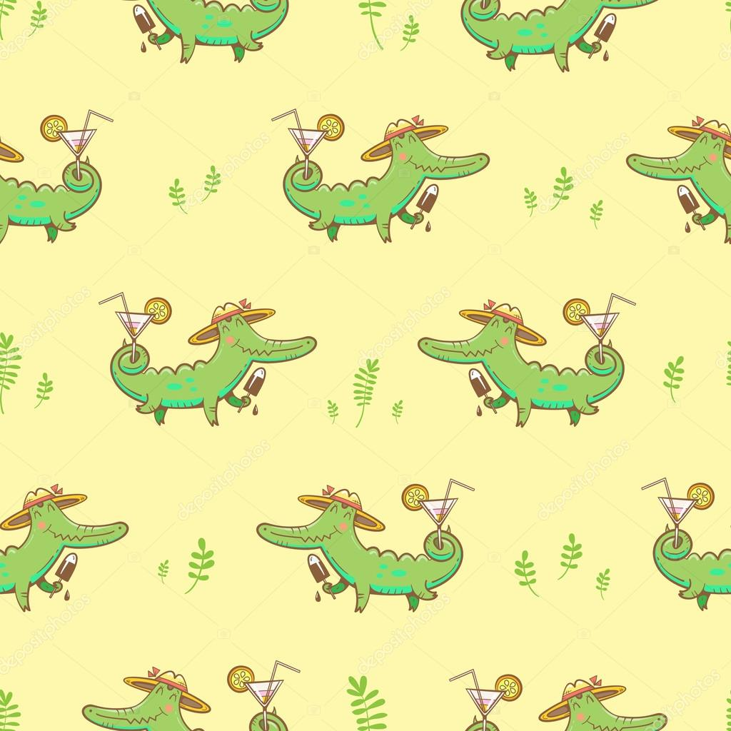 Pattern with crocodiles.
