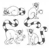 Cartoon lemurs set.