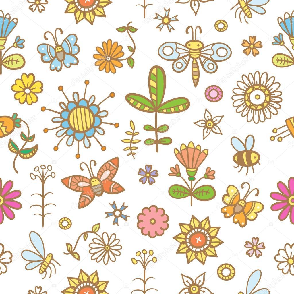 Doodle floral pattern.