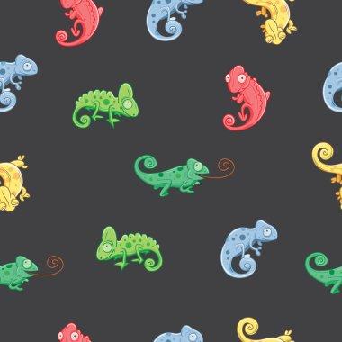 Pattern with chameleons.
