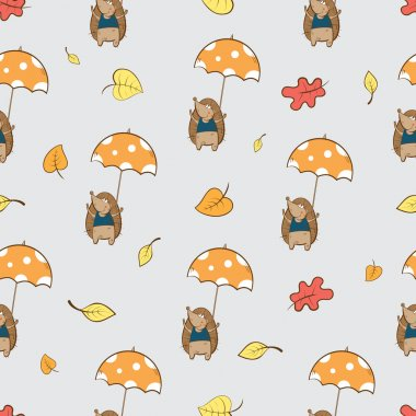 Pattern with hedgehogs.