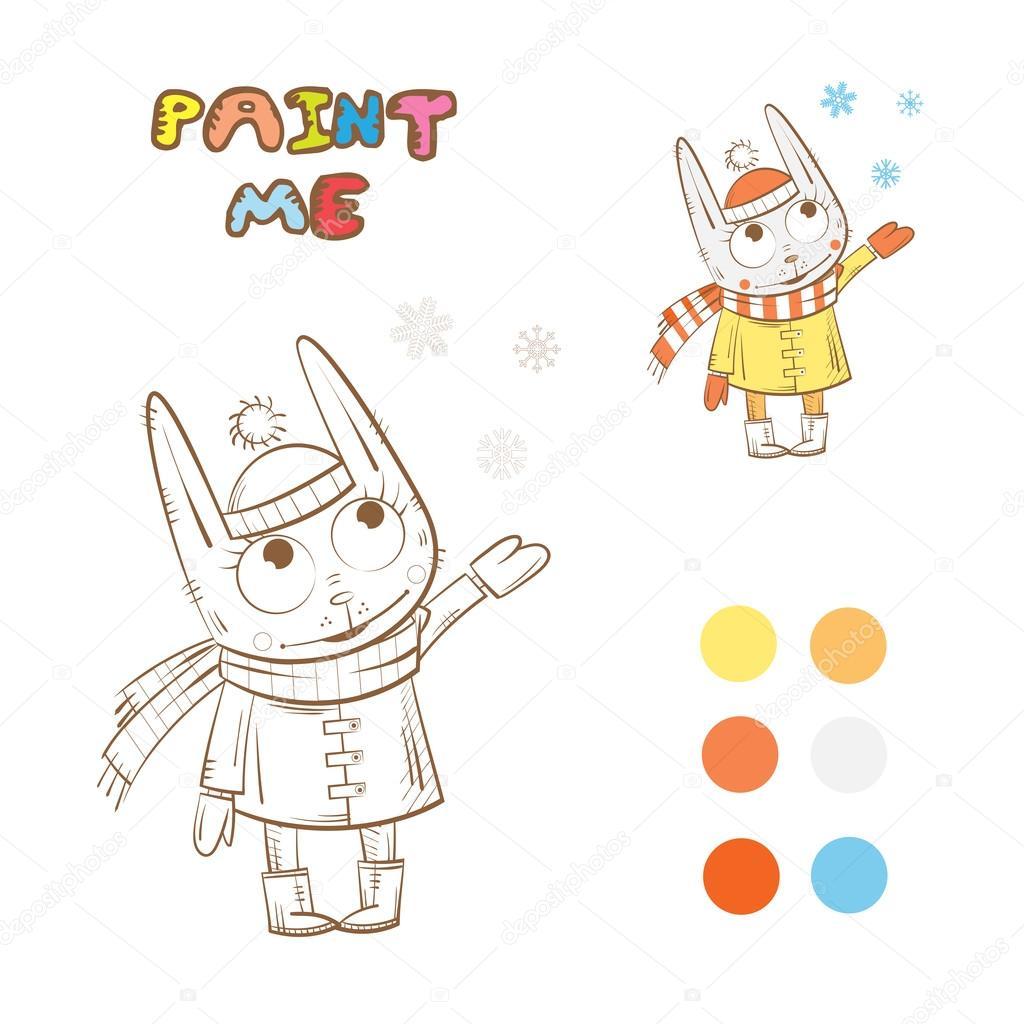 Раскраски кролики. Раскраска с кролик — Векторное ...