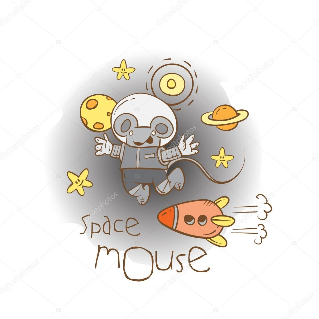 Space card with cartoon little mouse  astronaut.